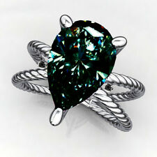 1.505ct VvS1/NATURAL GRAY GREEN BLUE PEAR MOISANITE DIAMOND 925 SILVER RING
