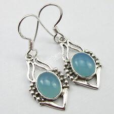 "FRENCH HOOK Earrings, 925 Sterling Silver AQUA CHALCEDONY Vintage Jewelry 1.4"""