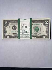 UNC New 1976 $2 BEP issued pack of (100) $2 Fed. Res. Notes in Consecutive Order
