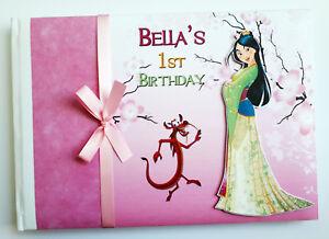 Personalised Disney Mulan birthday guest book, Mulan birthday album, gift