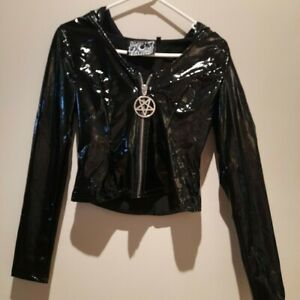 Killstar PVC Jacket with hood Pentagram zipper