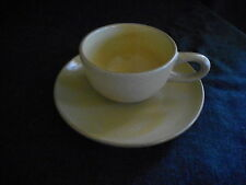"""Heath Pottery speckled yellow gold cup and 6 1/4"""" plate may be """"nutmeg"""""""