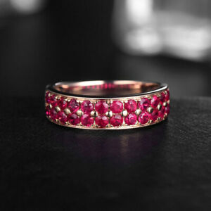 14k Rose Gold Plated Ruby Stackable Bridal Band Ring, Wedding Band, Engagement