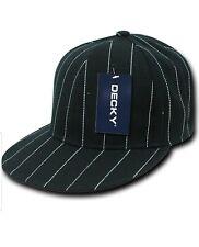 Decky Adult Men Pin Striped Fitted Head Wear Cap Black Size 28 flat billed acryl
