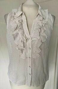 Hobbs 100% silk blouse V neck sleeveless frill front sleeveless collared size 14