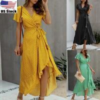 Women Ladies Summer Loose Polka Dot Wrap Maxi Dress Holiday Beach Long Sundress