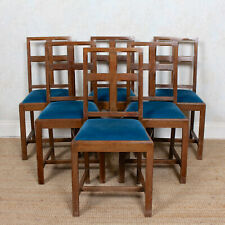 6 Oak Arts & Crafts Dining Chairs Carved Antique