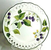 """BRUNELLI Vintage 10 1/2"""" Plate Berries Flowers Vines Ribbon Edged Made in Italy"""