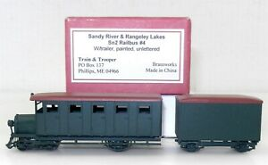 Train & Trooper Sn2 Sandy River & Rangeley Lakes RAILBUS #4 w/ TRAILER ~ T125