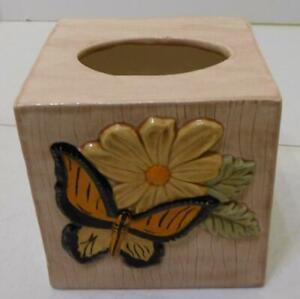 TAN BUTTERFLY FLOWER DESIGN CERAMIC SQUARE DECORATIVE KLEENEX TISSUE BOX COVER
