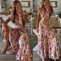 ❤️Women's Boho Floral Long Maxi Dress Party Summer Beach Ruffle Sundress Holiday