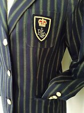 RALPH Lauren jacket Boyfriend Blazer NAVY Stripe CROWN CREST Gold Button 10 NWOT