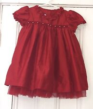 Bella Bliss Girls Red Taffeta Smocked Dress Sz 3