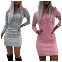 Womens Knitted Sweater Bodycon Mini Ladies Long Sleeve Party Jumper Dress