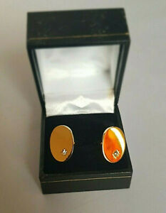 Oval Gold YM White Stone Men Cufflinks With Gift Box