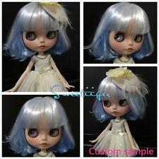 "Takara 12"" Neo Blythe blue white Bob hair Factory Nude doll for Custom Use"