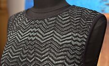 Missoni Sz 8 Sleeveless Dress Fine Knit Stretch UK 12 IT 44 Shimmer Black Green