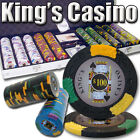 New 500 Kings Casino 14g Clay Poker Chips Set with Aluminum Case - Pick Chips!