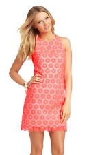 Lilly Pulitzer Fiesta Pink Embellished Lace Pearl Dress size 2