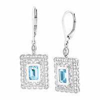 2 1/3 ct Natural Swiss Blue Topaz Drop Earrings with Diamonds in Sterling Silver