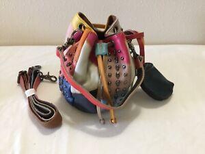 AmeriLeather QMetal Patchwork Leather Mini Shoulder Bag NEW Shoulder/Crossbody