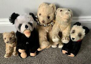 Lot 5 Bears On All 4s -3 Hermann Bears Mohair, 2 Panda Bears, 1 Polar Bear NICE
