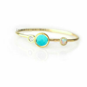 Turquoise / Opal Gemstone Brilliant Cut Diamond Band Ring in 14K Yellow Gold