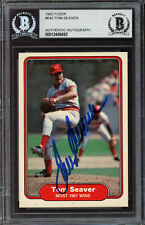 Tom Seaver Autographed Signed 1982 Fleer Card #645 Reds Beckett 12486493