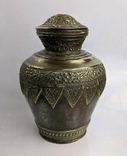 Contenedor de agua de latón antiguo malayo minangkabau Pot-Indonesia c1880-1900