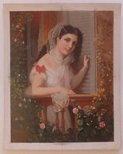 Chromolithographie Femme Robe Coiffure Fleurs Mode XIXème Siècle Testu Massin