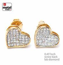 Unisex Brass 14k Gold Plated Lab Diamond Caved Heart Screw Back Earring 921 G