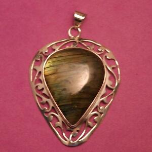 Beautiful 925 Silver Pendant With A Grade Labradorite 17.9 Gr  7x 4.5  Cm. Wide