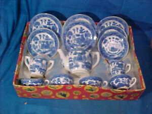 MIB 15pc 1930s BLUE WILLOW Pattern PORCELAIN Kids TEA SET Made in JAPAN