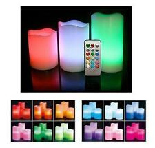 COLOR CHANGING FLAMELESS CANDLES 3 PACK VANILLA SCENTED WAX LED WITH REMOTE