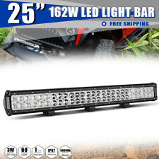 25 inch 162W LED Work Light Bar Spot Flood Combo Dual Row For Car SUV Offroad