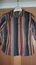 H&M Ladies UK 10 Shirt MEDIUM M Striped Chic BLACK WHITE BLUE ORANGE FAB RARE!!!