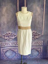 Anne Klein White Soft Woven Pique Sheath Dress SZ 8 Beige Soutache Lace Trim