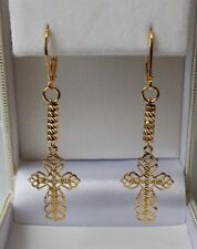 9ct Gold Filled Plated Crucifix Cross Earrings 14mm wide x 40mm drop.