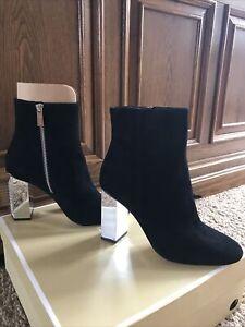 NEW!! MICHAEL Michael KORS Petra Bootie Black Suede Silver Heels SZ 8.5M