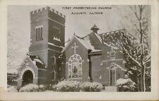 Exterior View First Presbyterian Church Augusta Illinois Il Postcard B32
