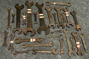Antique & Vintage (27) Double Open End Wrench Set Lot Tools SAE Made in USA