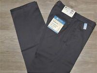 HAGGAR Premium No Iron Pants Straight Stretch Flex Waist Flat Front Dark Grey