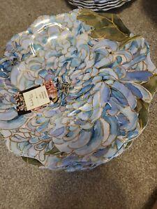 NICOLE MILLER HYDRANGEA FLOWER BLOSSOM DINNER PLATES – MELAMINE – BLUE SET OF 6