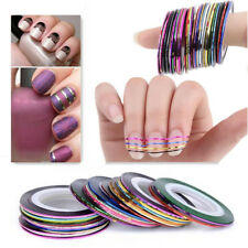 30 Colour Rolls Nail Art Lace Tape Line Strips Nails Decoration Stickers From UK