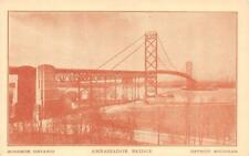 DETROIT, MI Michigan     AMBASSADOR BRIDGE to WINDSOR, Canada     Postcard