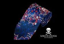 Lord R Colton Masterworks Tie - Merano Sapphire Floral Woven Necktie - New