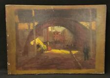 Fine Antique Original Oil Painting on Canvas European Street Scene