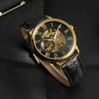 Luxury Mechanical Men's Skeleton Hand Winding Luminous Leather Strap Wrist Watch