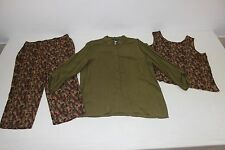 Sag Harbor Womens Sz Large Matching Olive Green 3 Pc Outfit Pants Shirt Tank Top