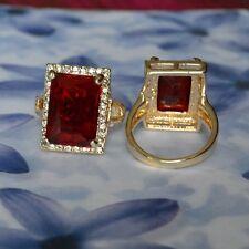 Dolly-Bijoux Fantaisie Poinçonné Grosse Bague Rubis 20mm Pavé Diamant Cz T56 à62